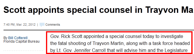 Florida Governor Appoints Special Counsel re:  Trayvon Martin