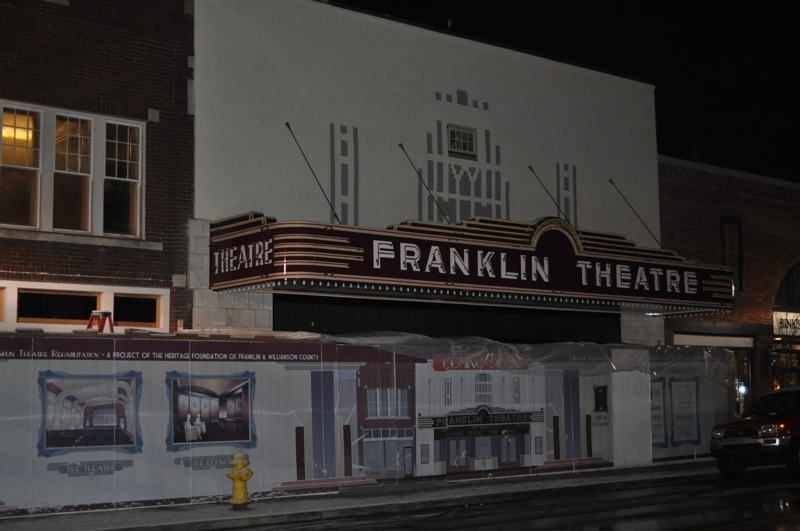 New Marquee of the Franklin Theater in the dark