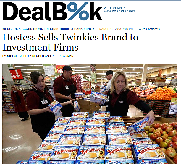 Twinkies - Hostess Sells Twinkies per DealBook