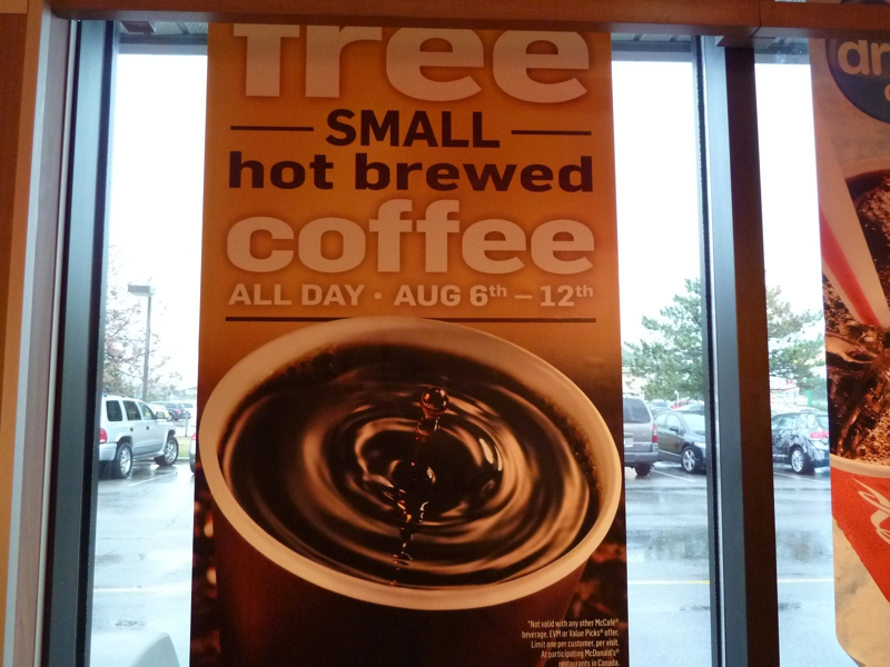 free coffee at McDonald's sign