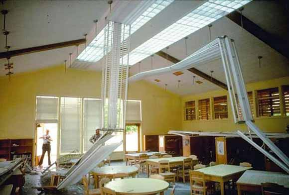 After the 2001 magnitude 6.8 Nisqually earthquake, this school in the Puget Sound area of Washington was closed for repair (Earthquake Engineering Research Institute photo).
