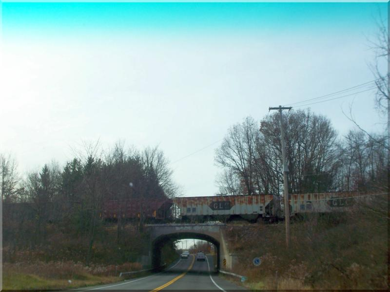 Train passing over head on Route 9H