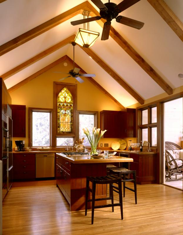 Kitchen with hardwood