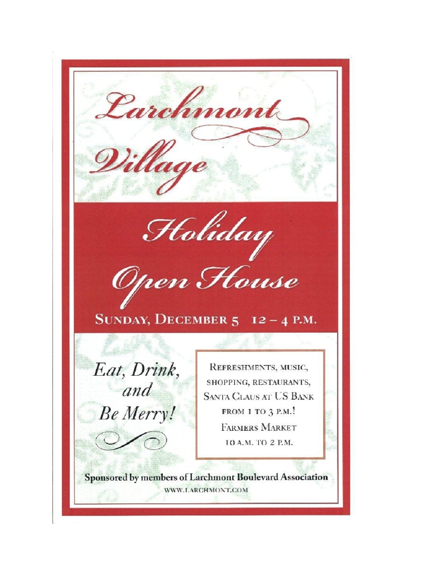 Larchmont Village Holiday Open House