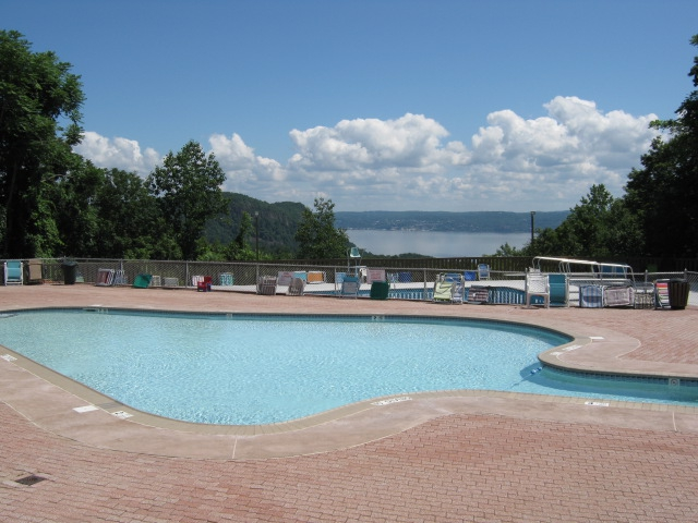 Mountain View Condominiums pool and view of Hudson Valley Cottage and Nyack New York