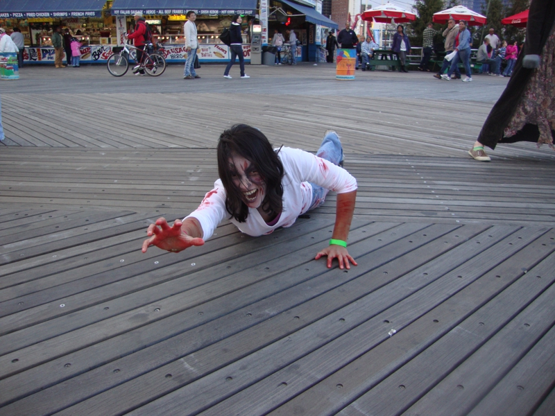 laura cerrano dressed up as a zombie at coney island ny
