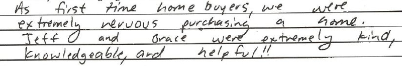 Northwest indiana 1st Time Home Buyer Client testimonial