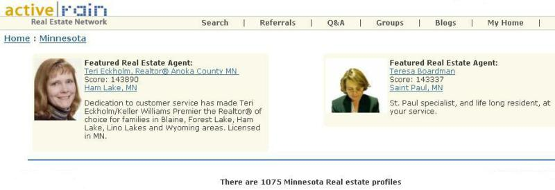 Screen shot of Active Rain's Minnesota page