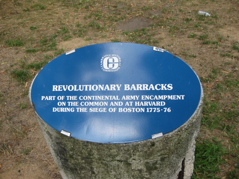 Plaque at the site of a Revolutionary War encampment in Cambridge Mass
