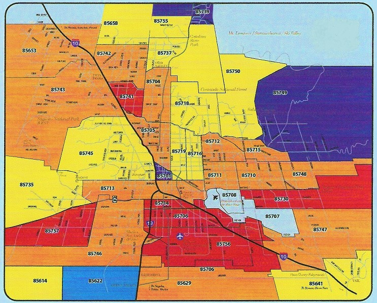 Map Of Tucson Arizona Zip Codes.Tucson Area Zip Code Map Danielrossi