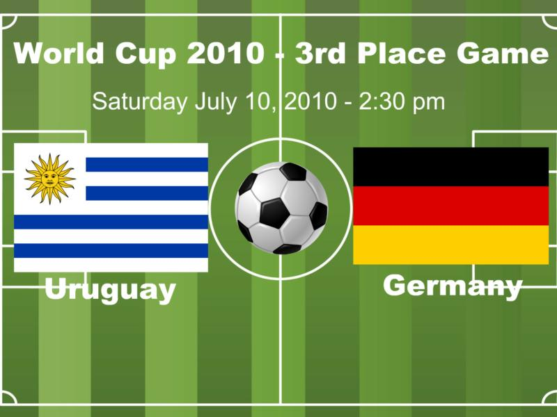 Picture of flags of Uruguay and Germany to meet in 3rd place World Cup 2010 game.