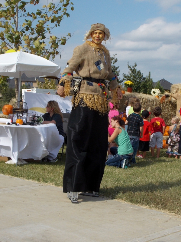 Human scarecrow on Stilts