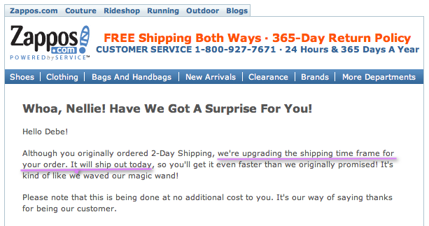 Zappos provides amazing customer service