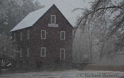 Starr's Mill obscured by Snow. Photo by Richard Weisser