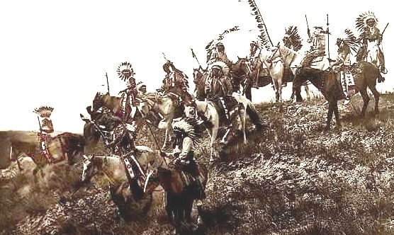 A Band of American Indians on Horseback