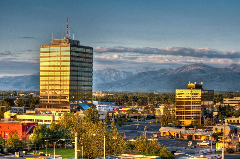 Mid-Town Anchorage Alaska with Chugach Range Mountains