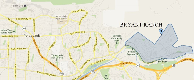Map showing the location of Bryant Ranch in Yorba Linda CA