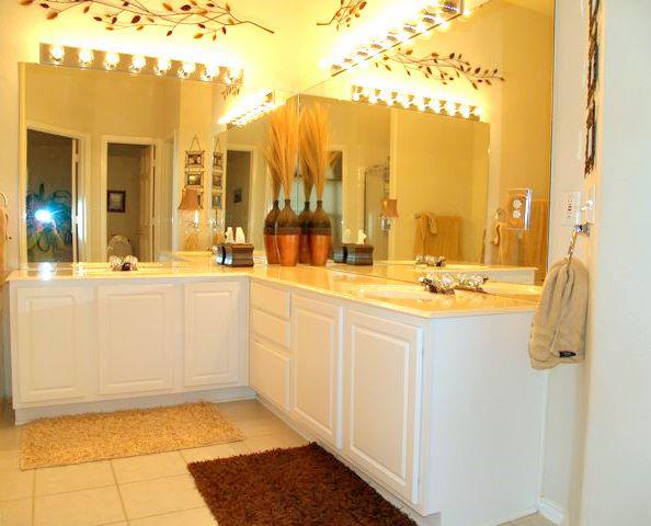 master bath with separate shower in sonoma round rock