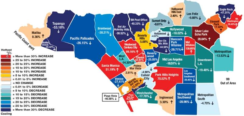 Los Angeles Single Family Homes Market Climate Map