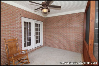 Custom Home Screen Porch | One Story Brick Homes | Raleigh Custom Home Builders
