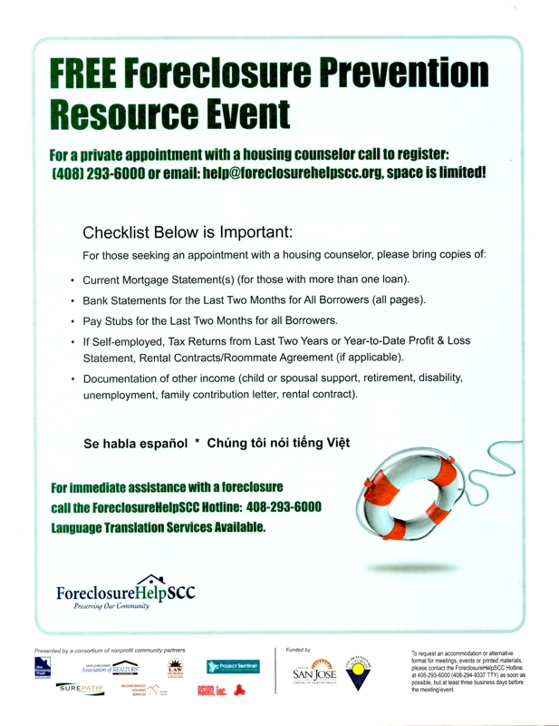 free foreclosure prevention resource event