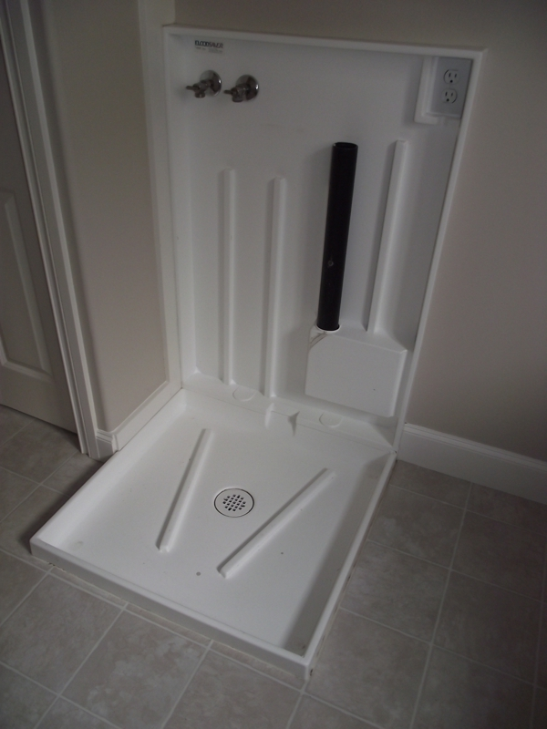 washing machine tray installation