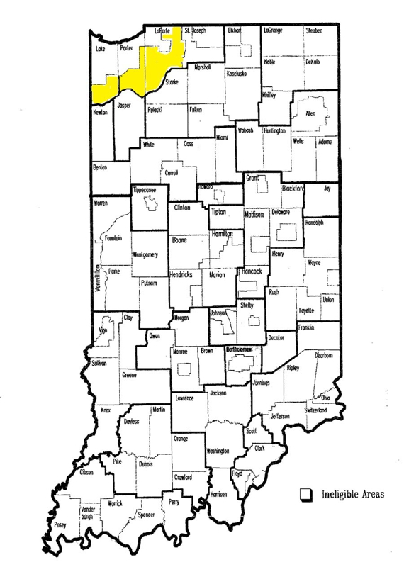 Map of rural areas in NW Indiana where USDA loans may be used to purchase propeties for sale
