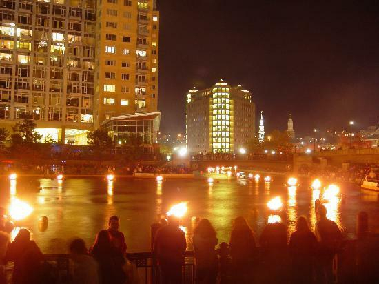 Providence Waterfire at dusk