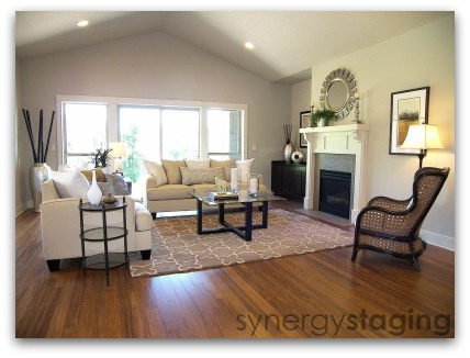 Living Room staged by Synergy Staging in West Linn Oregon