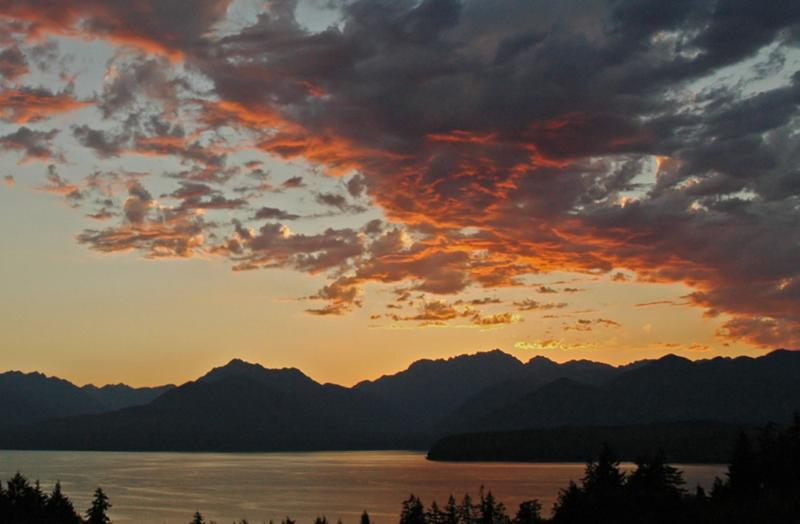 sunset on hood canal wa from Puddingstone Development in nearby Silverdale WA