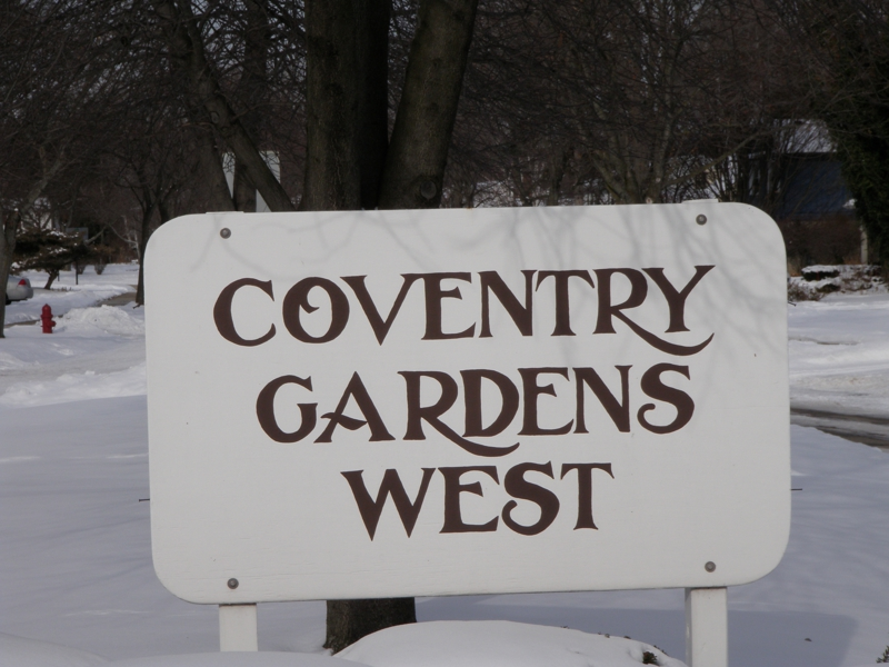 Coventry Gardens West Livonia Michigan entrance sign