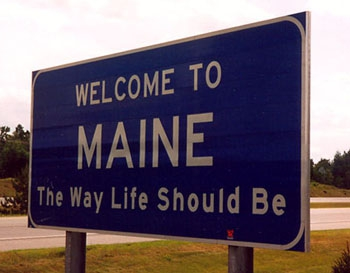 welcome to maine highway sign