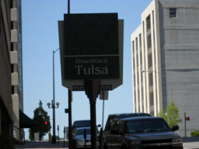 Downtown Tulsa and individual parking meters