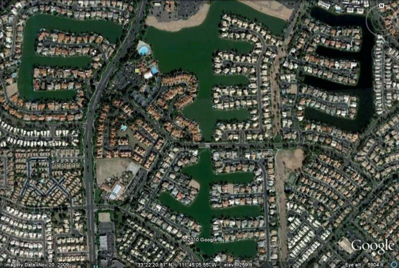 Val Vista Lakes with all 4 lakes aerial