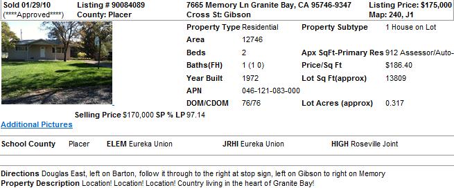 Smallest Home in Granite Bay, CA (Sold in 2010)