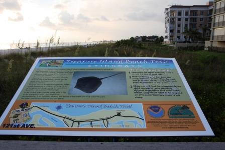 Treasure Island, beach signs