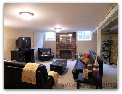 Family Room Staged by Synergy Staging in Portland
