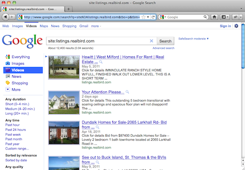 Google Video Search Results with RealBird