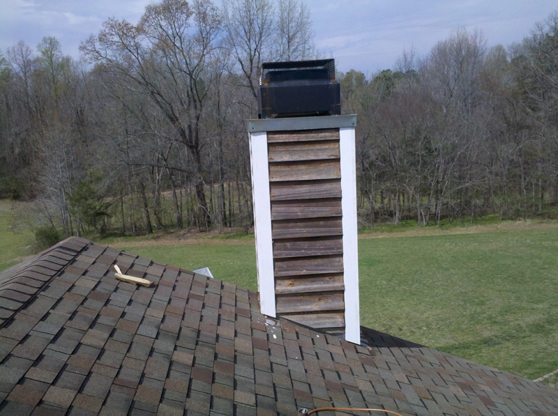 New PVC corner boards on chimney