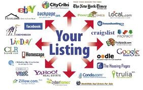 your listing written in blue letter and red arrows pointing out to different websites