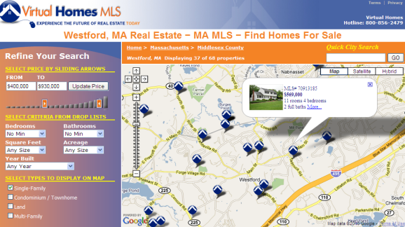 Westford MA real estate map