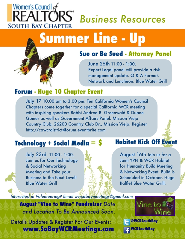Summer Line Up WCR Events