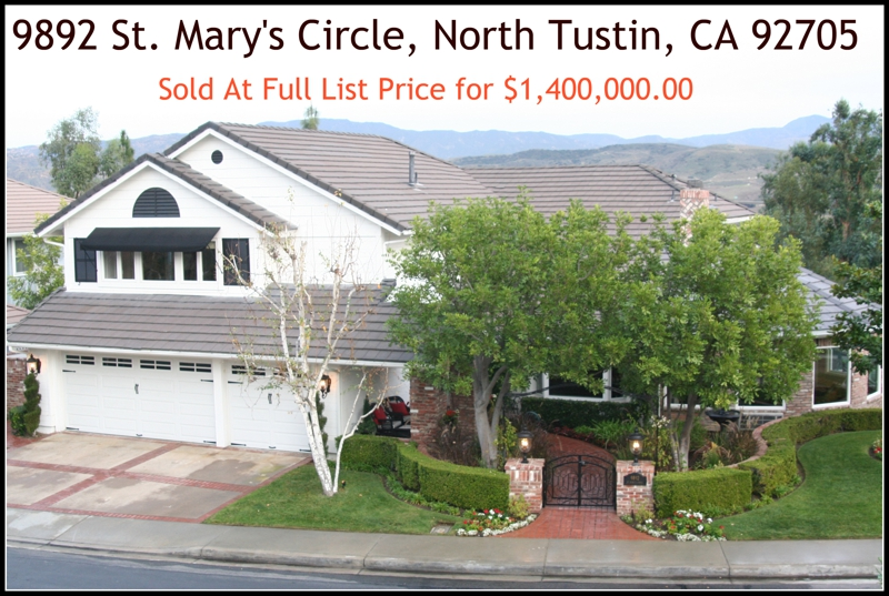 9892 saint marys circle north tustin california sold by IML Real Estate