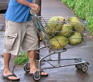 shopping cart full of coconuts in paia maui hawaii - buy a home for sale in Paia Maui today