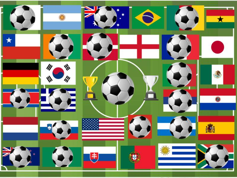Flags of remaining Nations World Cup 2010 on June 26, 2010