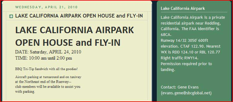 lake california airpark fly in announcement april 24 2010