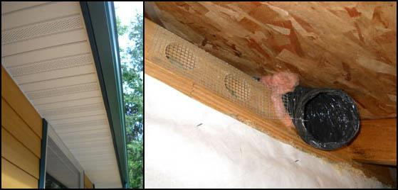 Example of a bathroom exhaust fan duct terminated inside an enclosed soffit.