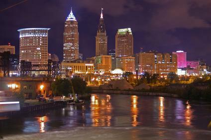 Cleveland Ohio skyline at night
