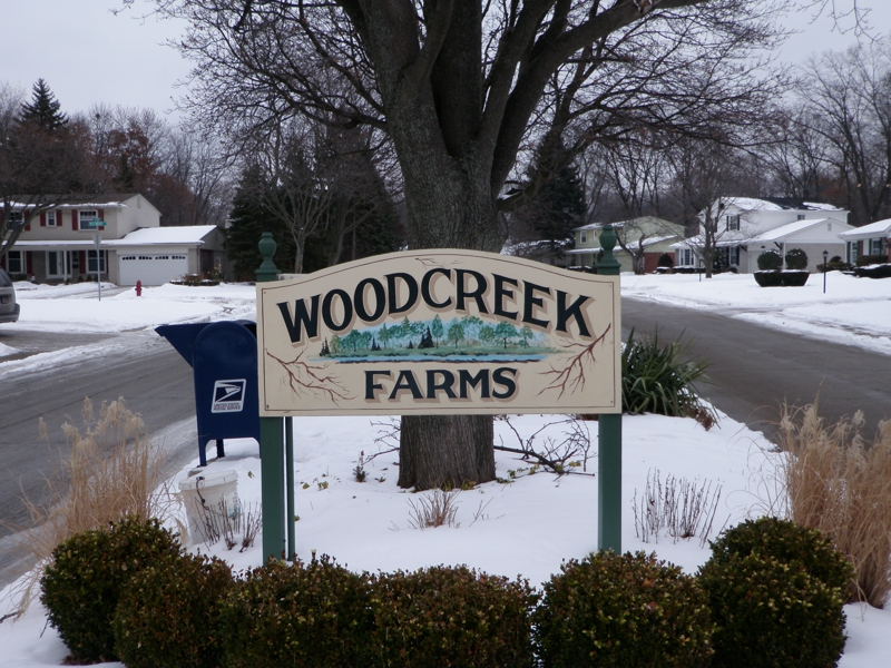 Woodcreek Farms Livonia Michigan Entrance Sign
