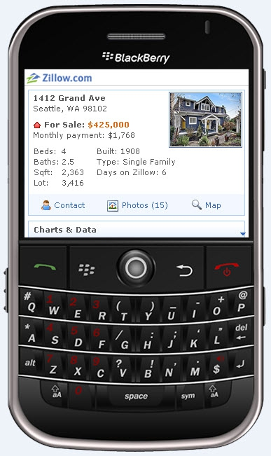 blackberry zillow real estate app